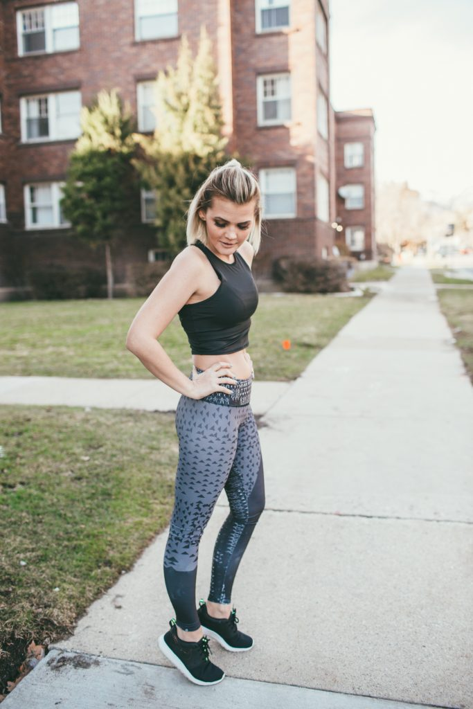 3B Yoga Black Crop Top and Onzie Printed Leggings