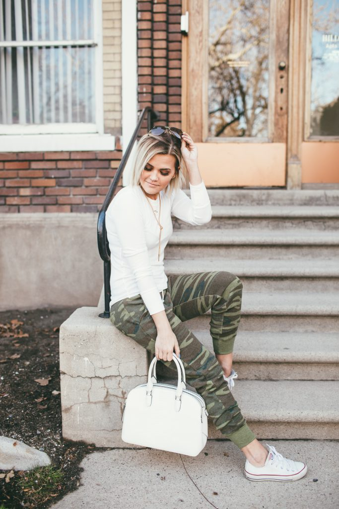 Camo Sweats and Henri Bendel Dome Satchel