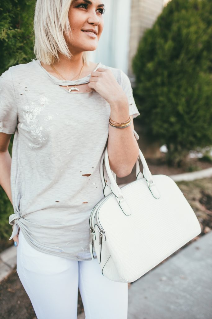 Vici Dolls Destroyed Tee and Henri Bendel Dome Satchel