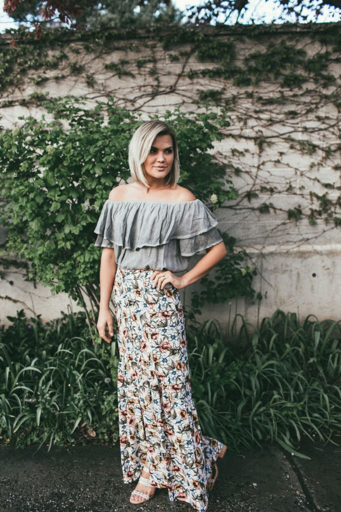 Shop Amara Bri Off The Shoulder Top and Floral Maxi Skirt