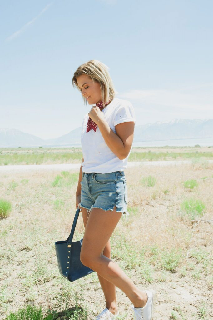 4th of July White Tee and Denim Shorts