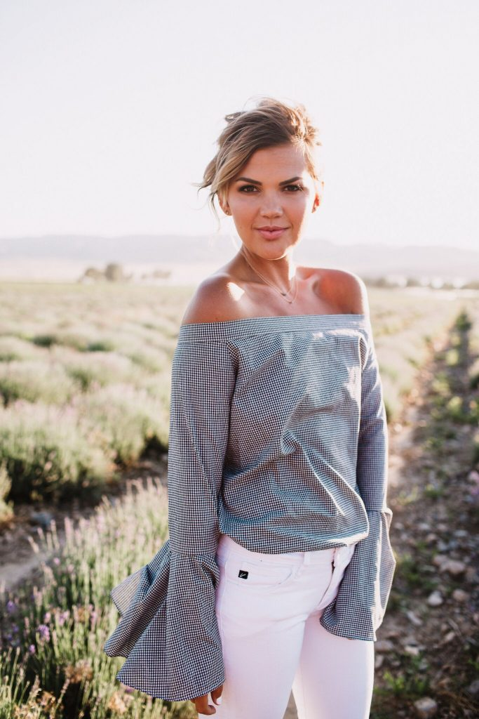 Chicwish Gingham Off the Shoulder Top with Bell Sleeves
