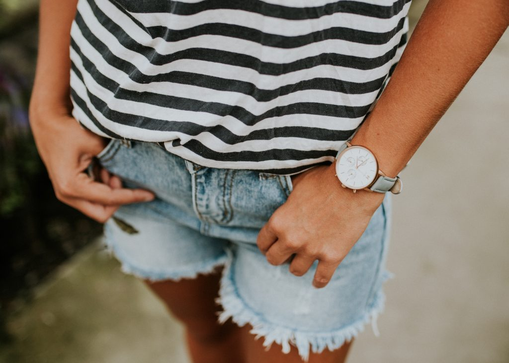 Embroidered Flora Tee and Shop Hello Honey Embroidered Shorts and MVMT Dorado Watch