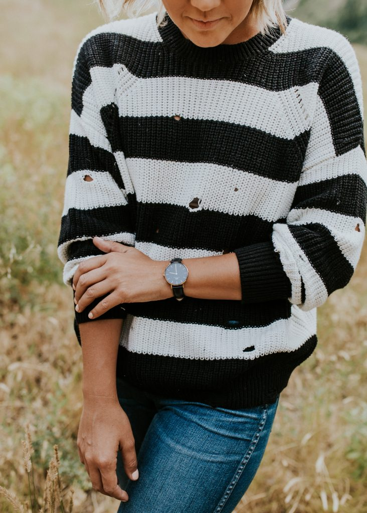 Black and White Distressed Sweater from Nordstrom