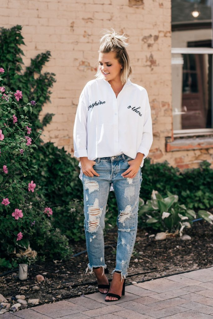 Shein Inspire Others Embroidered Blouse
