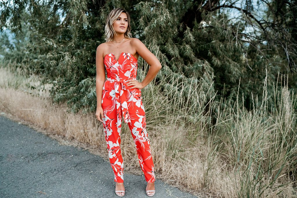 Yumi Kim red floral jumpsuit