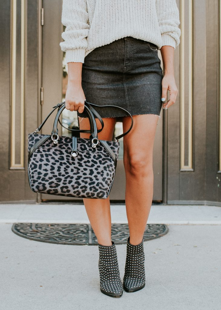 Black Denim Skirt and Sweater