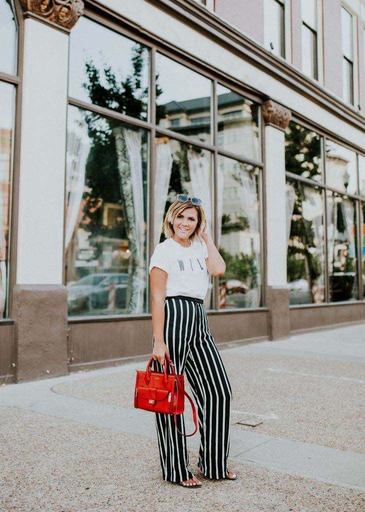 Wild Tee and Striped Wide Leg Pants