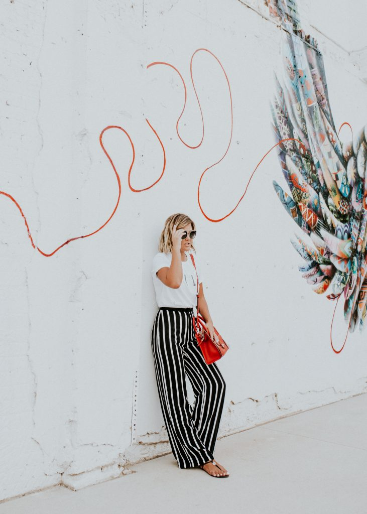 Wild Tee and striped wide let pants