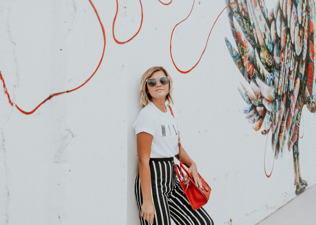 Zoey Diff Eyewear and striped wide leg pants