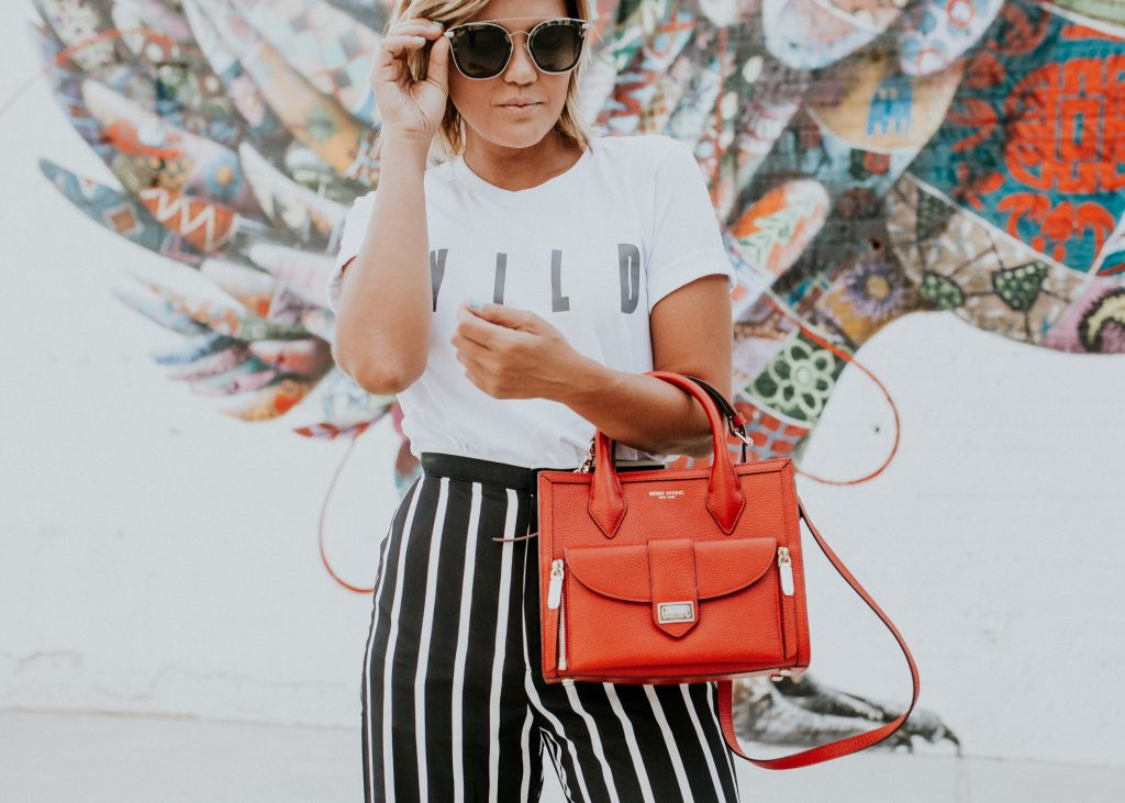 Zoey Diff Eyewear and striped wide leg pants and henri bendel rivington