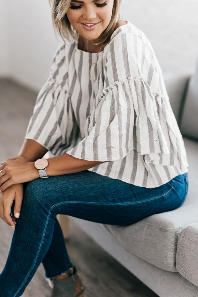 Roti Collective white bell sleeve blouse