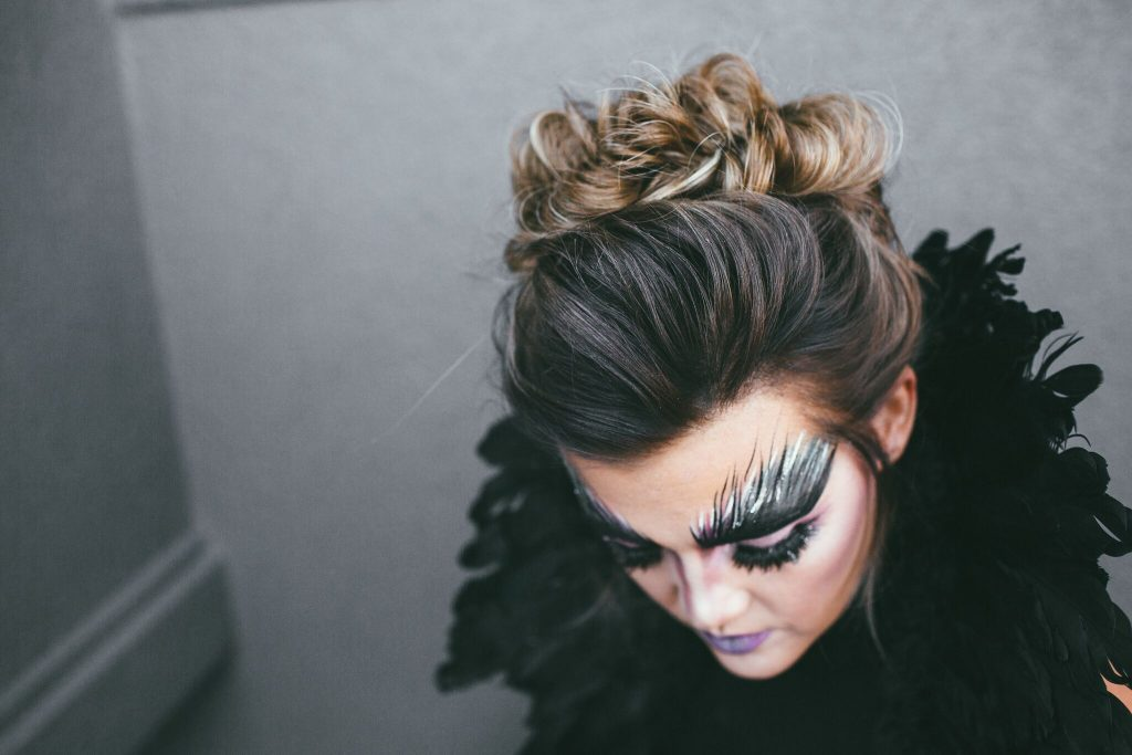 Halloween black bird makeup