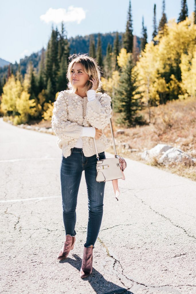 Chunky knit ivory cardigan sweater