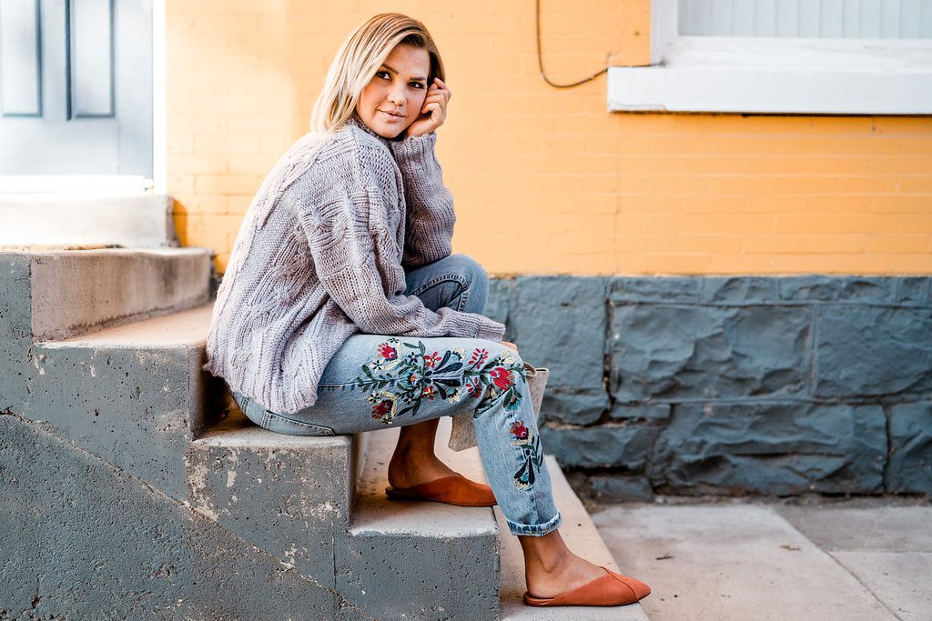 Oversized Sweater and Embroidered Jeans
