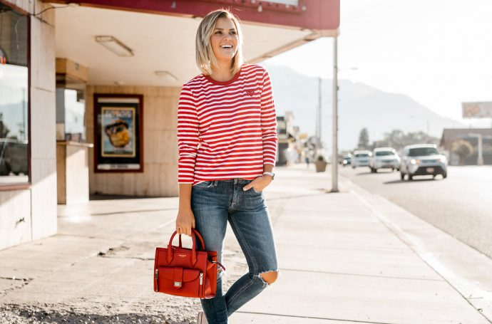 Red Striped Long Sleeve Tee and Henri Bendel Mini Rivington
