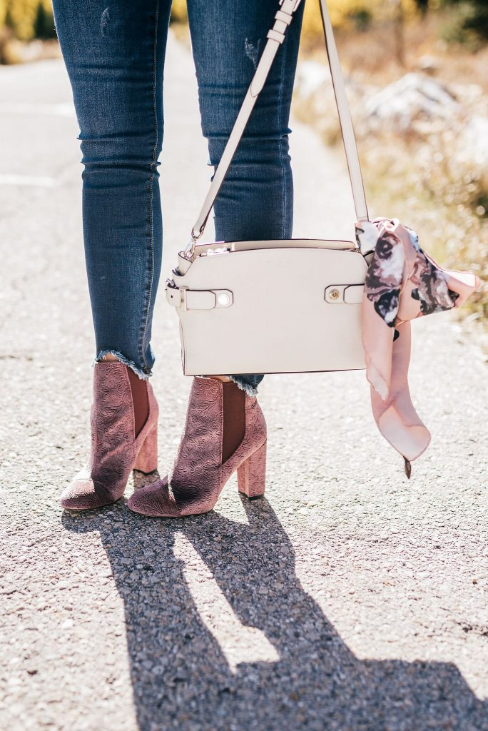 Sam Edelman velvet booties and Henri Bendel bag