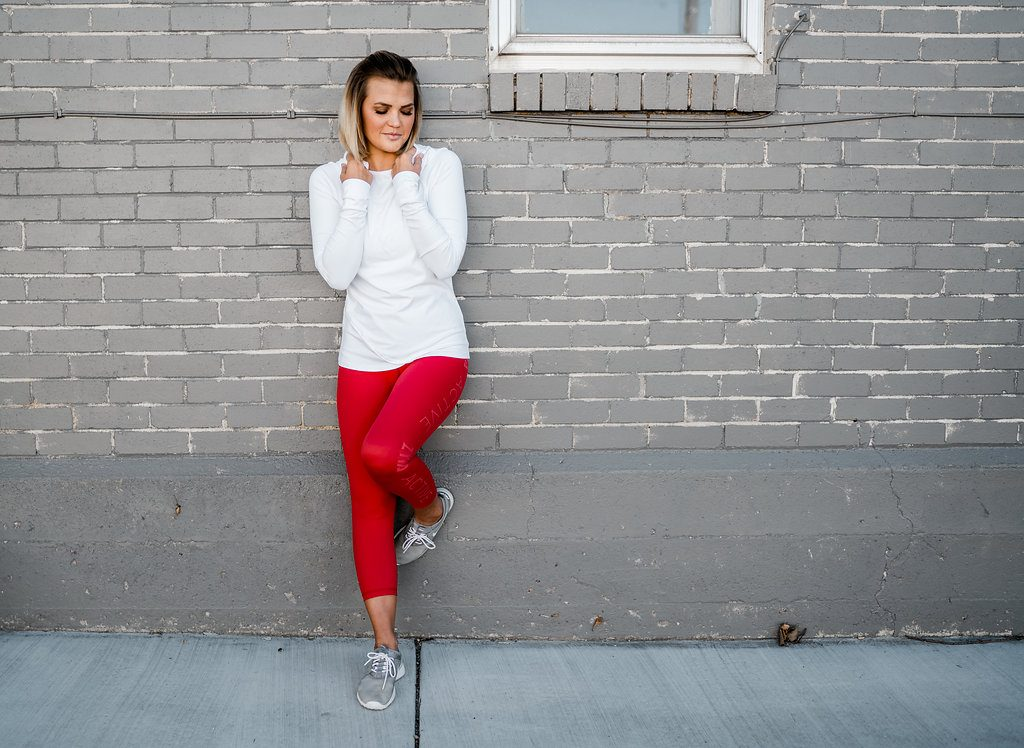 Zyia Active White Hoodie and Red Pants