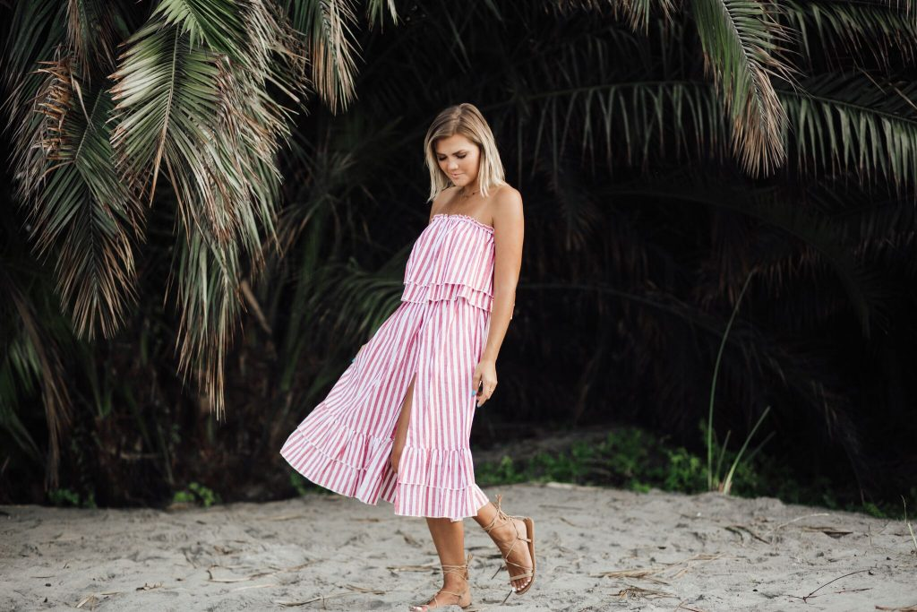red striped two piece set