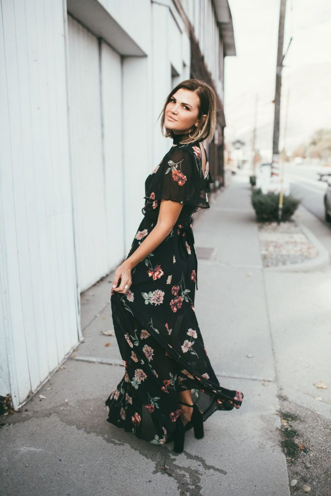 Black Floral Print Maxi Dress with Velvet trim