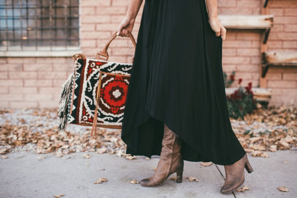 Black madi dress and cleobella weekender