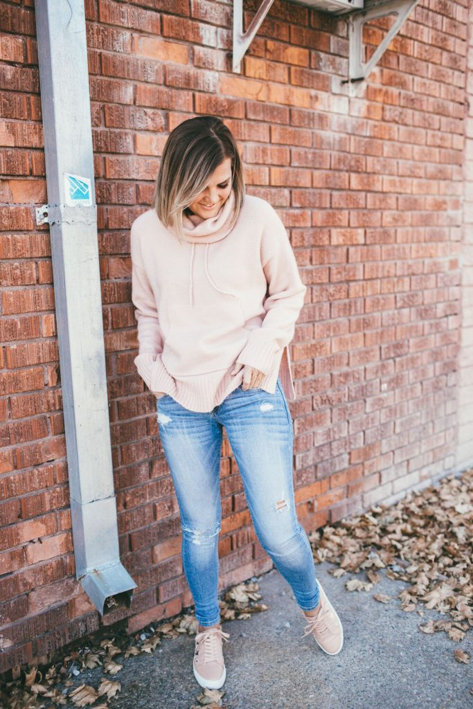 JSlides Alabama Sneakers and blush cowl neck sweater