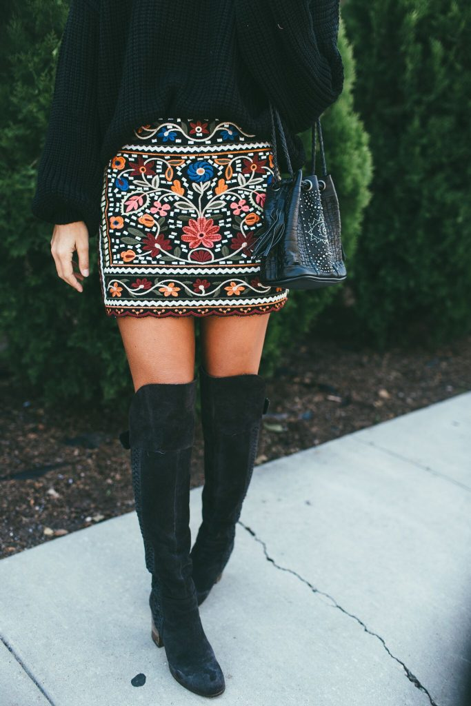 Black sweater and Colorful Embroidered Skirt