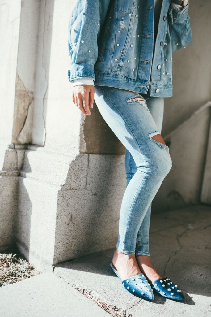 Free People Denim and Pearl Jacket