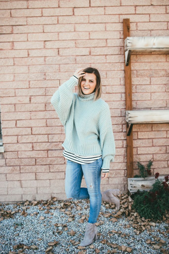 green chunky knit sweater