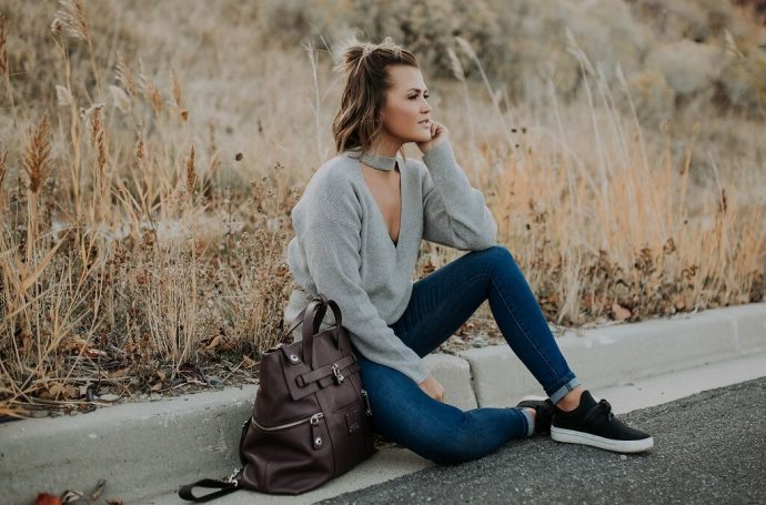 Grey Choker Neck Sweater and Henri Bendel backpack