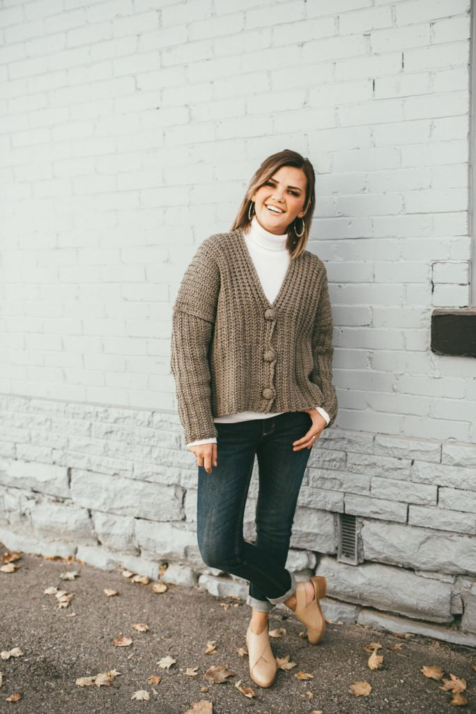 Heartloom Cardigan Sweater and Tan Booties