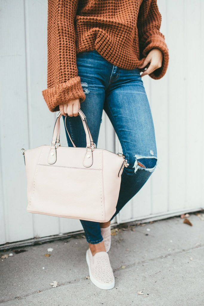 Waffle Knit Sweater, Henri Bendel, and Vionic sneakers