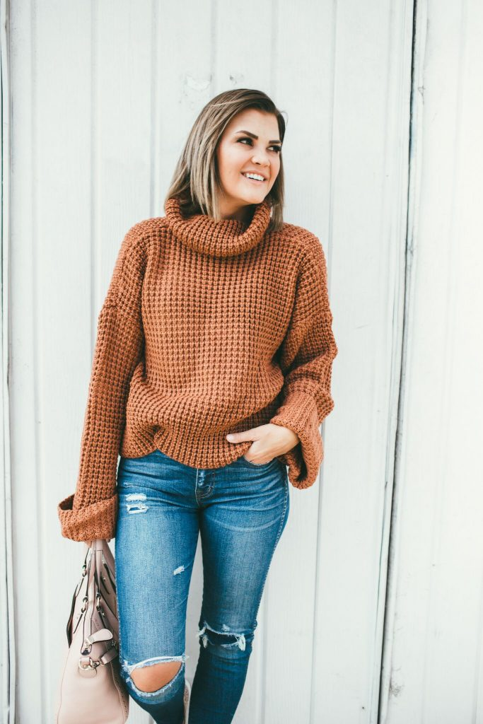 Waffle Knit Sweater and Henri Bendel