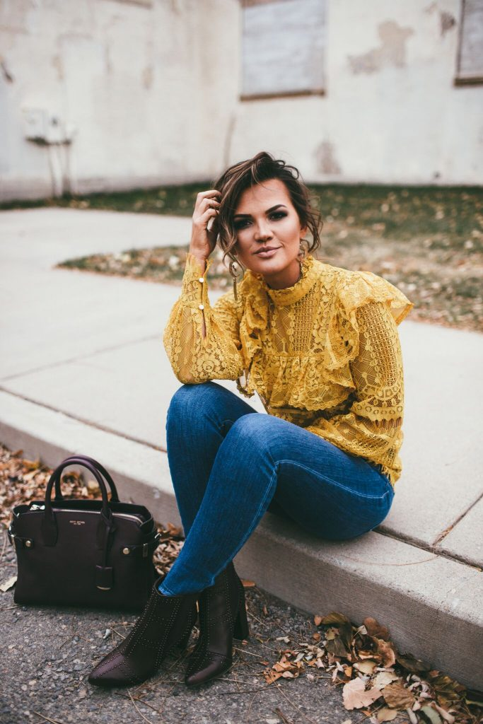 Yellow lace blouse and Henri Bendel Carlyle