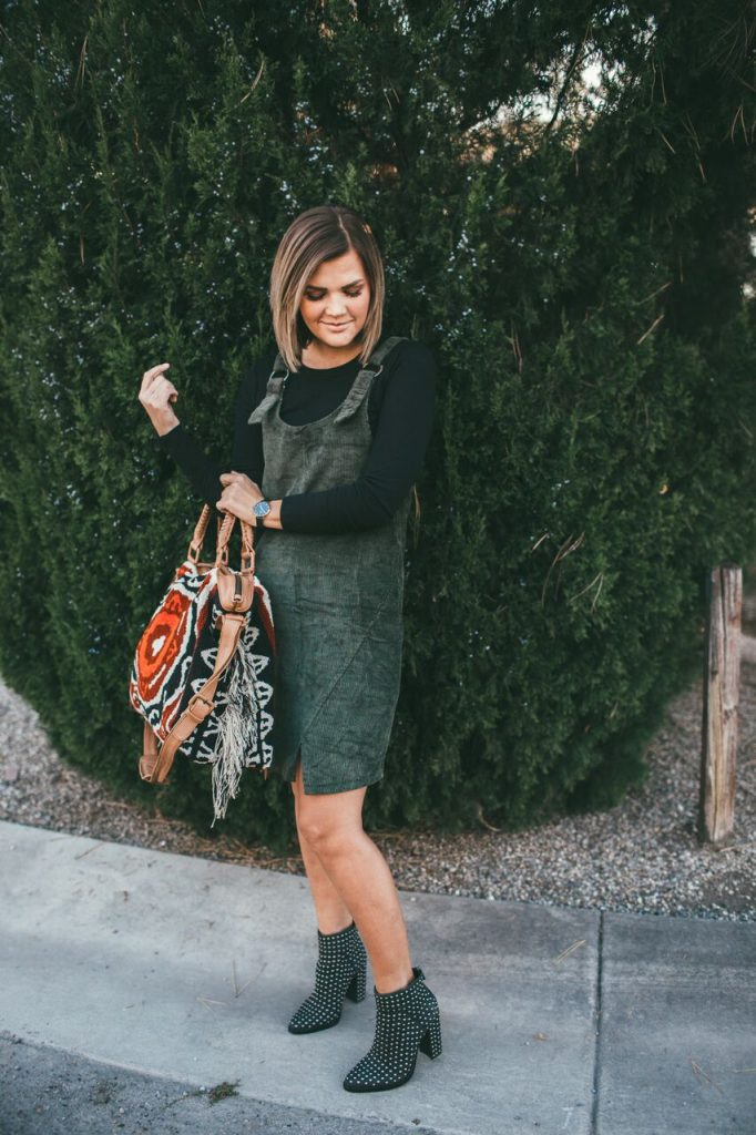 Green Corduroy Jumper and Cleobella Weekender Bag