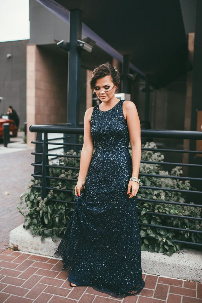 Adrianna Papell High Low Navy Sequin Gown