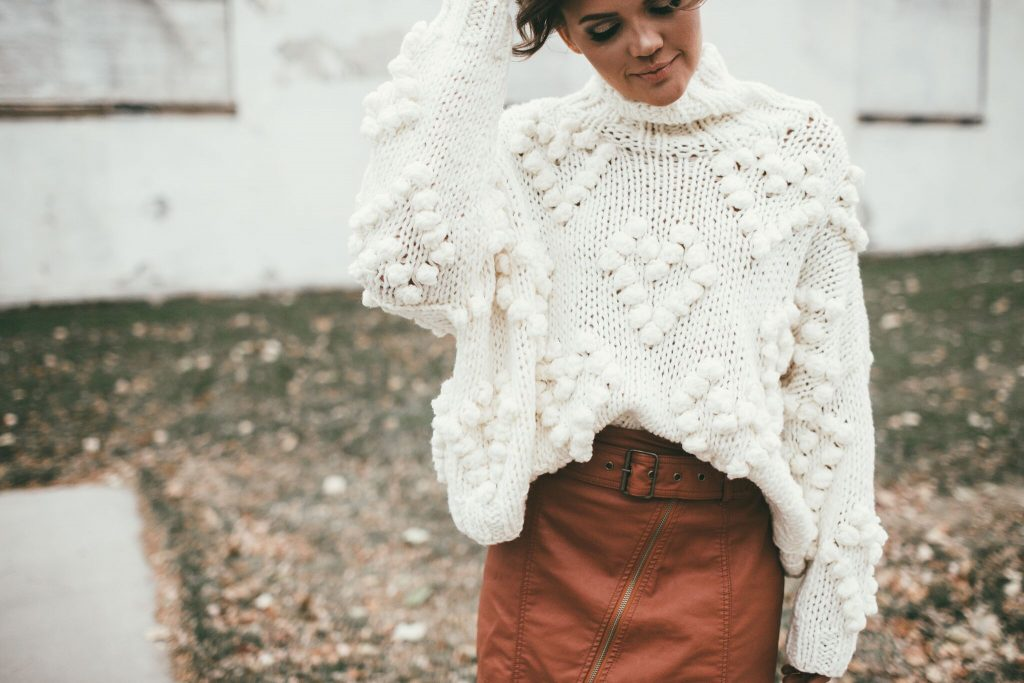 Chicwish Knit Your Love Pullover and Free People Leather Skirt
