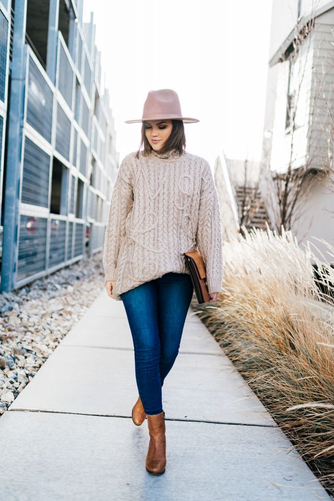 Chicwish tan sweater, A lack of color hat, chloe dupe bag