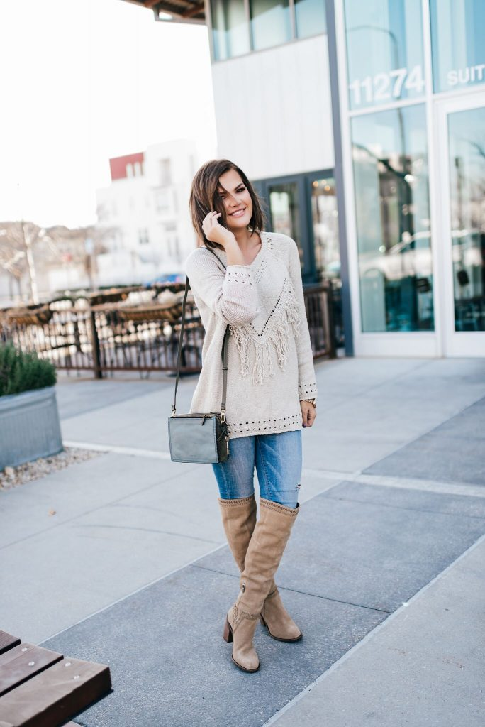Show Me Your Mumu Fringe Sweater and Fossil Campbell Crossbody Bag