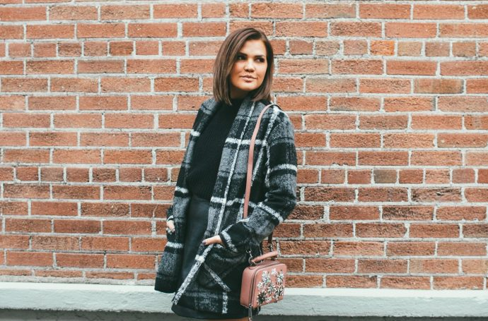 Home for the Holidays Plaid Coat and leather mini skirt