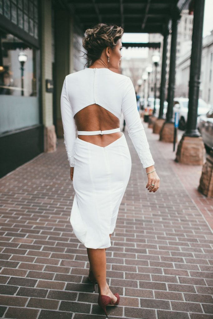 Rachel Allan white long sleeve dress