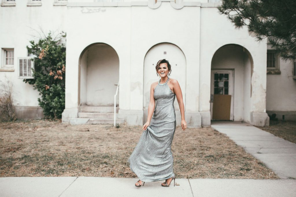 Silver Gown with Beaded Back and Baublebar Druzey Earrings