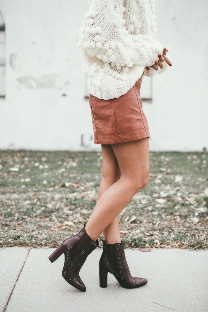 Vince Camuto Basila Bootie and Free People Leather Skirt