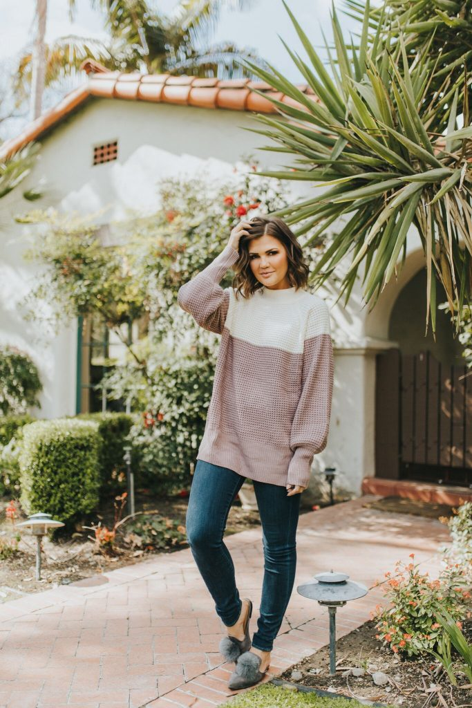 Mauve color block sweater