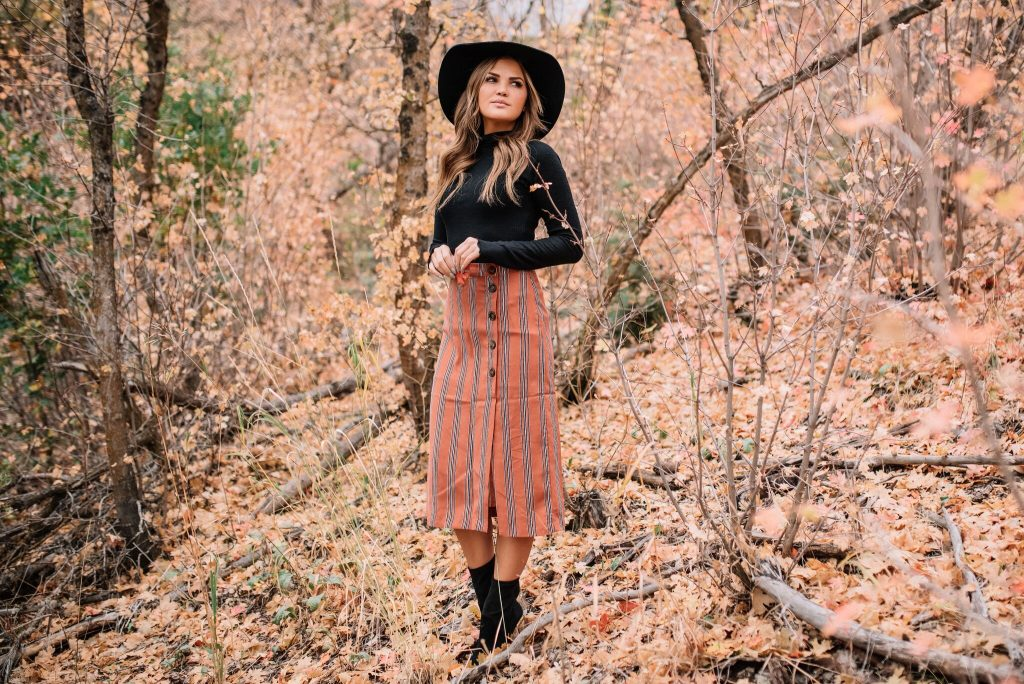 Lulu's Free People black turtleneck and rust striped midi skirt