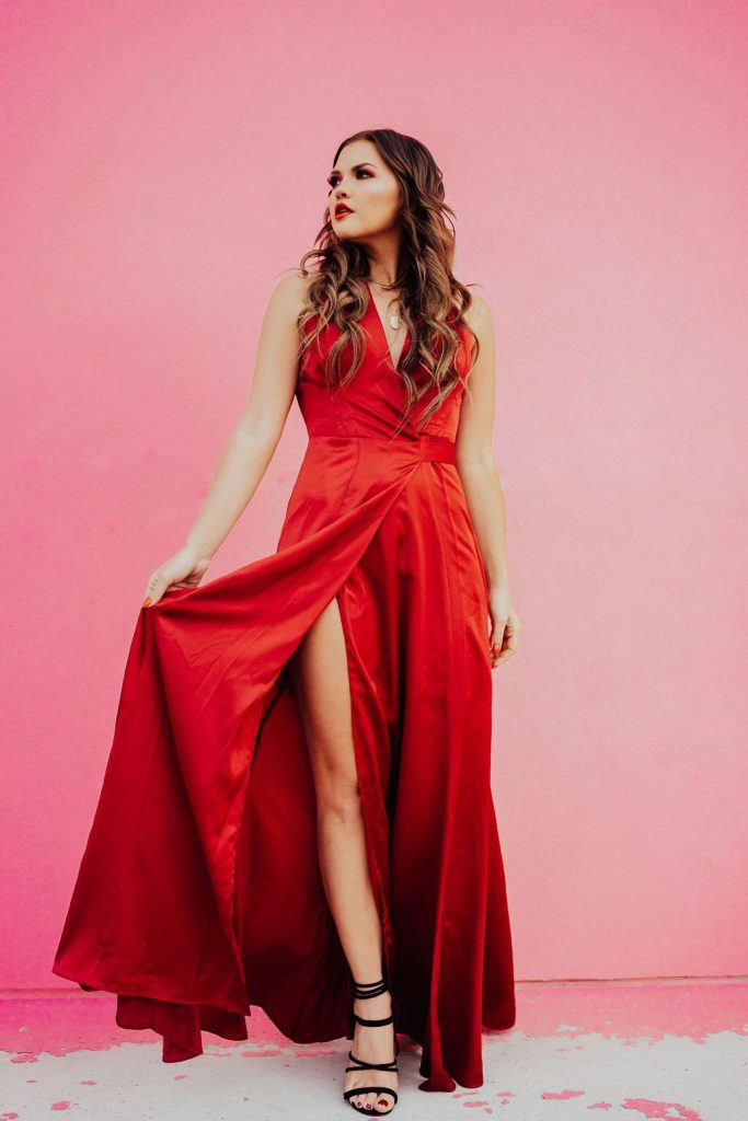 red gown and red makeup, valentine's day